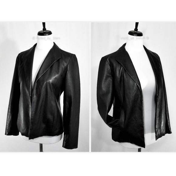 Saks Fifth Avenue Jackets & Blazers - SAKS FIFTH AVE • Black Leather Open Front Blazer
